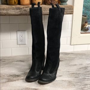 Frye Black Villager Pull Knee High Suede Boots